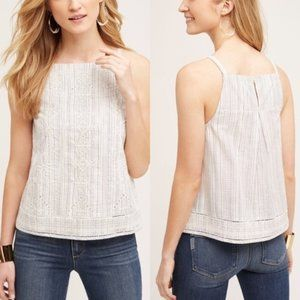 Anthropologie V.V. Altura Stripe Embroidered Tank